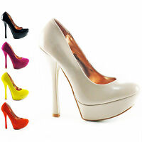 WOMENS LADIES HIGH HEEL PLATFORM PEEPTOE PUMPS COURT SHOES SIZE 3 4 5 6 7 8 HELE