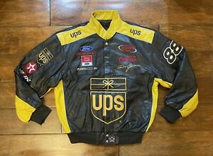 Dale Jarrett #88 UPS Brown Leather Race Jacket Mens Size Large NASCAR Rare