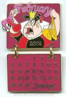 Disney Pin 43903 Alice in Wonderland DLR Calendar February Queen of Hearts LE