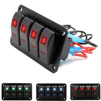 4 Gang LED Schaltpanel Schalter Schalttafel Leistungsschalter 12V-24V Boot Bus