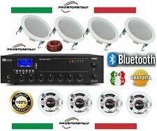 IMPIANTO AUDIO FILODIFFUSIONE LOCALI 100Watt+8 Altoparlanti+Bluetooth+100Mt Cavo