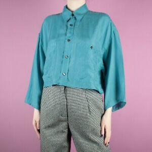 VINTAGE 80s 90s Blue Grunge Retro Womens Crop Silk Shirt Blouse Top M 14