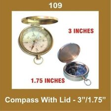 New Vintage 3 Inch Compass With Lid Brass Nautical Collectables GEc