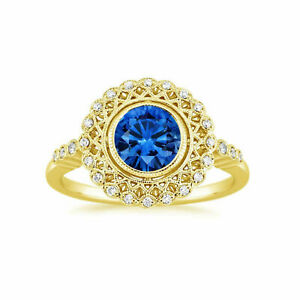 Natural 1.50 Ct Diamond Blue Sapphire Ring 14K Solid Yellow Gold ring Size M N O