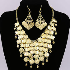 Bling Gold Coins Choker Collar Pendant Necklace Earrings Women Jewelry Gift UK