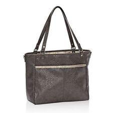 Thirty-One  Townsfair Reversible Tote  City Charcoal Snake with Rubbed Metallic