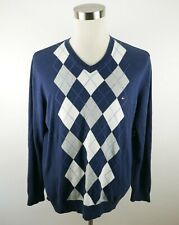 Tommy Hilfiger Mens Cotton LS V Neck Navy Blue Gray White Argyle Sweater Large
