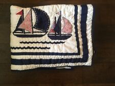 New Pottery Barn Kids Harper Nautical Sail Boats Baby Toddler Crib Quilt *read