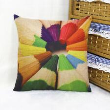1x Colorful Cushion Case Composite Linen Pencils Scatter Cushion Cover 42x42cm