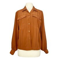 Vintage 70s 80s blouse rust brown pleat front pockets boxy button front M