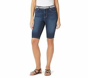 Bandolino Women Petites' Belted Denim Bermuda Shorts