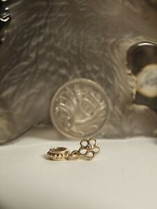 GENUINE - AUTHENTIC PANDORA 585 GOLD CHARM WITH DIAMOND / FLOWER PATH DANGLE !