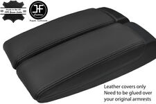 BLACK GENUINE LEATHER 2X ARMREST LID COVERS FITS AUDI A8 2003-10