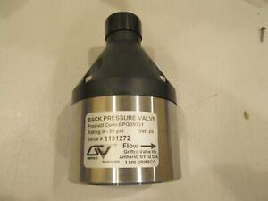 """Griffco 1/2""""NPT Back Pressure Valve 0-50psi 20# Set Pressure 316L SS PN BPG050S1"""