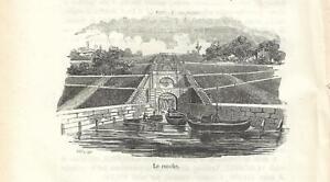Stampa antica PAVIA LE CONCHE DEL NAVIGLIO sbocco nel Ticino 1858 Antique print