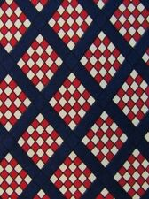BROOKS BROTHERS Makers Tie Navy Blue Red White Checks Striped Paid Silk Necktie