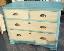 Antique 1900s German Pine Dresser painted Blue White pewter color pulls spruce