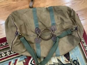 "Vintage 24"" LL Bean Canvas Leather Duffel Bag Tote w Strap Brass Zipper"