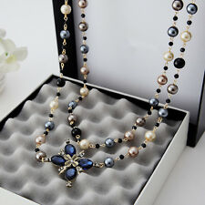 Cross Necklace Long Pearl Pendant Silver Beads Chain Ball Faux Fashion Women New