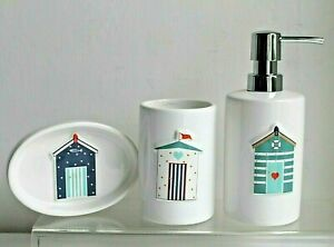 Beach Hut Coastal Design Toothbrush Holder, Soap Pump Dispenser or Soap Dish