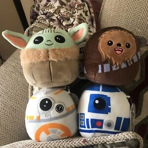 4 Star Wars Squishmallows Baby Yoda The Child, Chewy, R2-D2 & BB-8 5 Inches