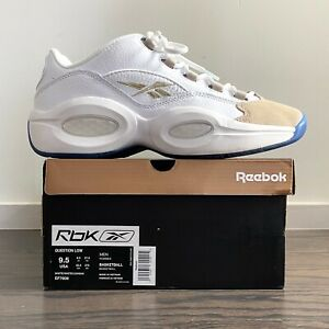 Allen Iverson Reebok Question Low Oatmeal Gray Size 9.5 Worn Great Condition