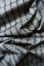"Silvery Grey Black Stripe Tsumugi Vintage Japanese Kimono Silk Quilt Fabric 61"""