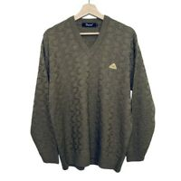 Desire Men's Sweater Size L Casual V Neck Brown Long Sleeves Pattern