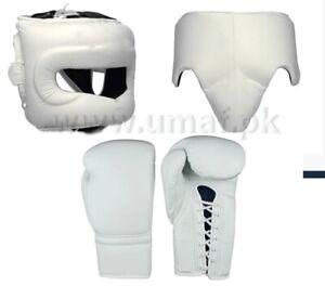 New custom WINN1NG Boxing Gloves, Head Gear, Groin Guard, White Color, Any Logo