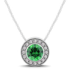 Round Emerald and Diamond Halo Necklace in 14K White Gold (.62ct t.w)