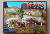 2 CAMPING TRAILERS w CURTAINS VOLLMER WELLY 1:87 HO SCALE DIORAMA LAYOUT