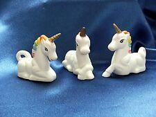 Vintage Art Mark Rainbow Mane Porcelain Bisque Unicorns Set of 3