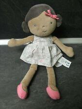 peluche doudou poupée métissé robe fleur grise rose blanche 28 cm obaibi