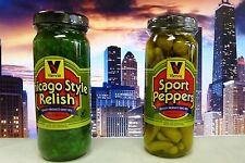 VIENNA BEEF Chicago Hot Dog / Brat Sport Peppers and Relish Condiment Kit, YUM!