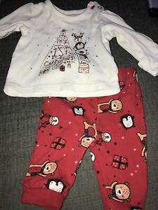 Baby Girl My First Christmas Pyjamas Outfit Red White 0 To 3 Months Asda George