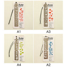 A1 Retro Multifunction Bookmark Drawing Paper Clips Ruler Shaped Metal Bookmark