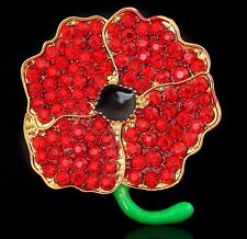Large Red Diamante Poppy Flower Brooch Crystal Green Remembrance Pin Gift
