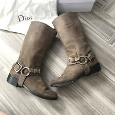 Dior Taupe Biker Short Boot Size 36.5 Suede Calf High Pull On Block Heel, $1050