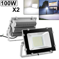 2X 100W LED Flood Light VIUGREUM Cool White Outdoor Spotlight Garden Yard Lamp