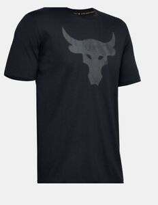 Under Armour Project Rock Tee Mens New Brahma Bull Graphic Short Sleeve Black L