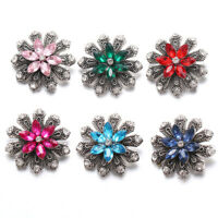 10pcs Crystal Chunk Charm Ginger Snap Button Fit 18mm Drill Noosa Jewelry Flower
