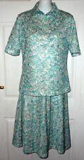 "Vintage M&S skirt suit green/ multi c.1960-'70s vtg size 12 34"" bust 25"" waist S"
