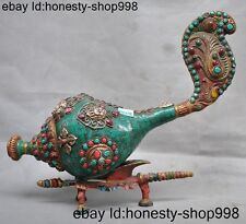 Tibet Buddhism Bronze Inlay Silver Turquoise Coral Tara Buddha amulet Conch Horn