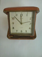 Vintage Semca Travel Alarm Clock Swiss Made 7 Jewels Leather Clam Cases -Working