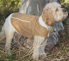 Dog coat faux suede tan fleece lining - 20cm x small - 45cm xx large dogs NEW