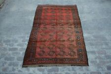 Stunning vintage nomad hand knotted Afghan turkoman rug 100% wool / tribal rug