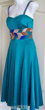 NEW~MONSOON ORIGINALS~SAADA GREEN SILK SEQUIN OCCASION DRESS 10 EVENING/WEDDING