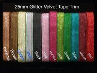 25mm Glitter Velvet Ribbon Tape Trim -upholstry-Wedding-Christmas Craft colour
