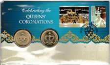 2013 CELEBRATING QUEENS' CORONATION STAMP FIRST DAY COVER PERTH MINT $1 COIN PNC