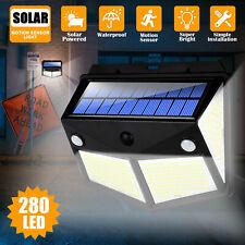 280 LED PIR Motion Sensor Wall Light Solar Power Waterproof Outdoor Garden Lamp